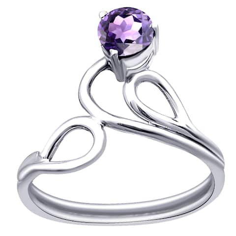 Garnet, Citrine, Amethyst Sterling Silver Round Solitaire Ring by Orchid Jewelry