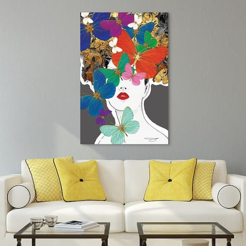 """Beautiful Women & Butterflies"" Frameless Free Floating Tempered Glass Panel Graphic Wall Art 48 in. x 32 in."