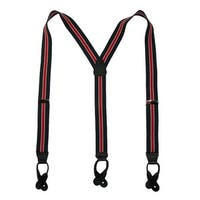 CTM® Men's Elastic Button-End Nautical Stripe Suspenders (Tall Available)