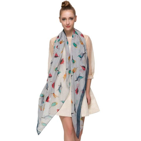 Elegant Women Bird Print Soft Long Scarf Wrap Shawl