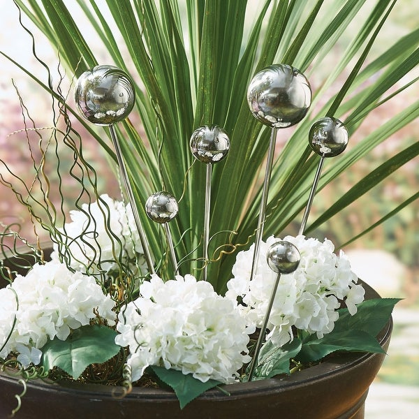 Stainless Steel Garden Sphere - Garden And Plant Decorations - Set Of 6