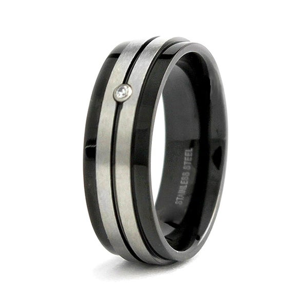 Black Plated Stainless Steel Ring with CZ 7.5mm (Sizes 8-12)