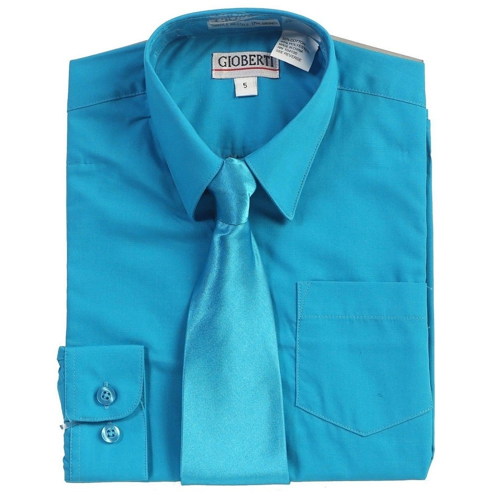 New Boy's Formal Aqua Blue Solid Long Sleeve Dress Shirt With Tie Sizes 2T-20 Clothing, Shoes & Accessories Kids' Clothing, Shoes & Accs