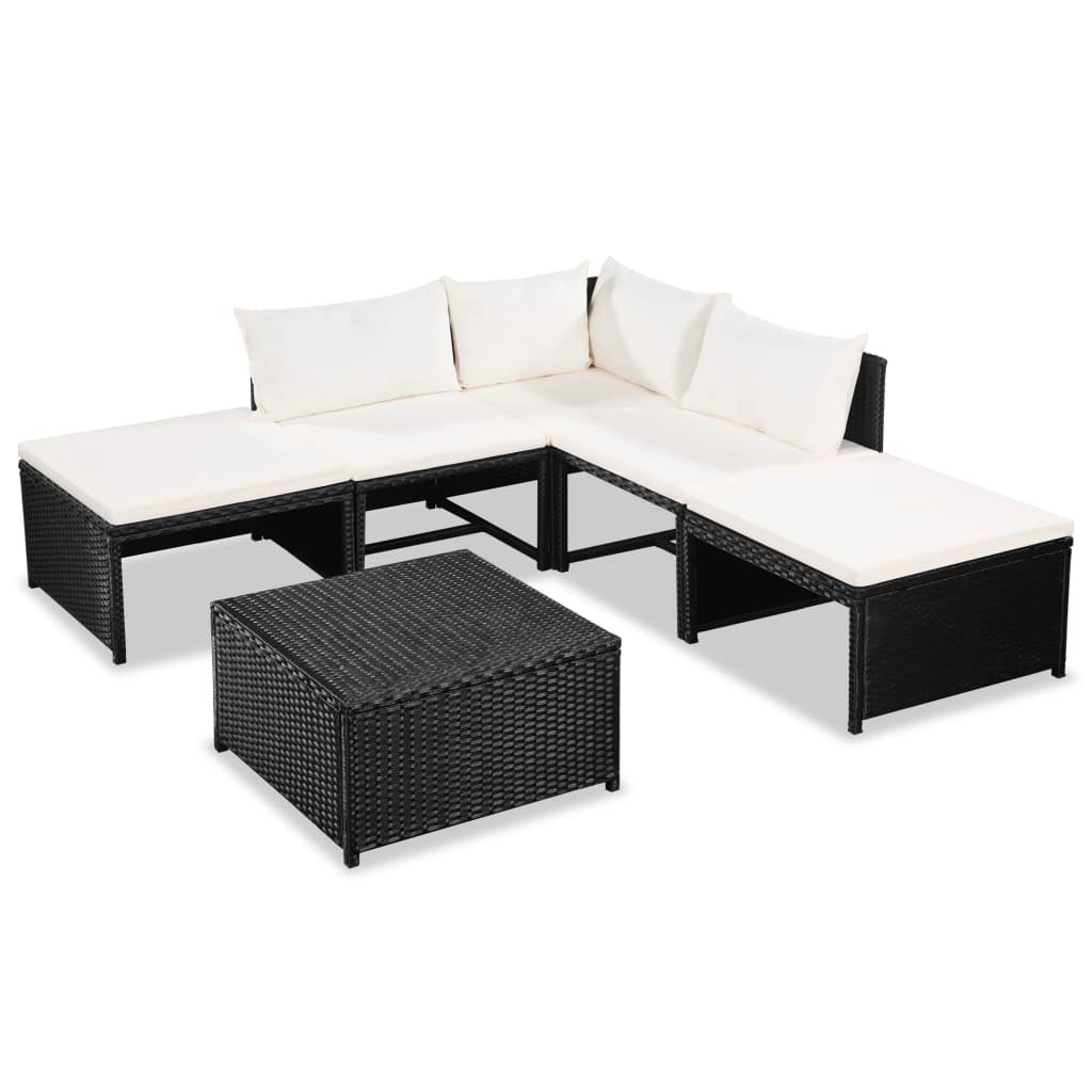 vidaXL Garden Sofa Set 15 Pieces Poly Rattan Wicker Outdoor Lounge Furniture