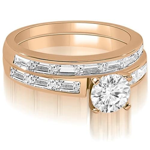 2.45 cttw. 14K Rose Gold Elegant Round And Baguette Cut Diamond Bridal Set