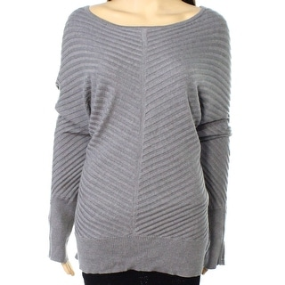 Alfani NEW Gray Womens Size XL Ribbed Long-Sleeve Boat Neck Sweater