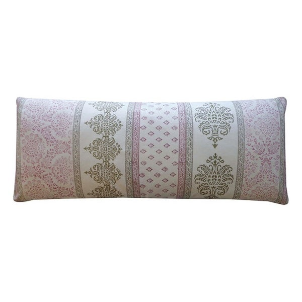 Vivai Home Wine Vertical Stamp Pattern Rectangle 16x 40 Feather Pillow - Dark Purple