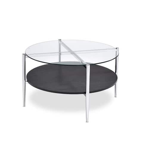 """Porch & Den Bally Modern Mixed Media Coffee Table - 32""""W x 32""""D x 18""""H"""
