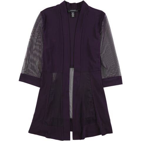 R&M Richards Womens Sheer Sleeve Jacket, purple, 14