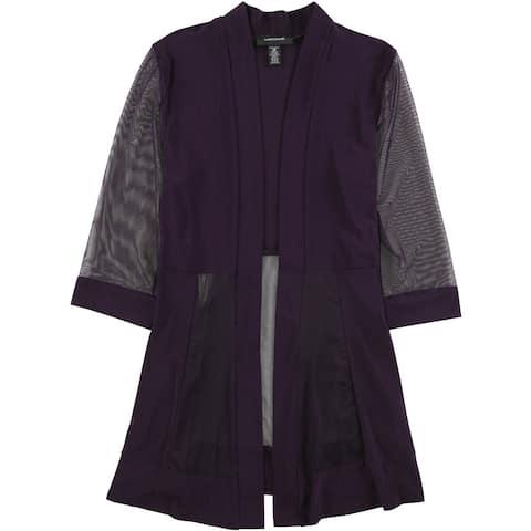 R&M Richards Womens Sheer Sleeve Jacket, purple, 14