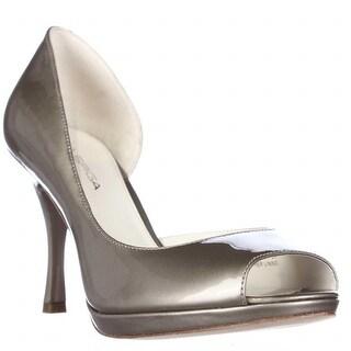 Via Spiga Malibu Peep Toe D'Orsay Heels, Platinum Pearl