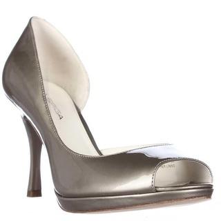 Via Spiga Malibu Peep Toe D'Orsay Heels - Platinum Pearl