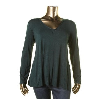 Studio M Womens Jeanette Pullover Top Jersey V-Neck