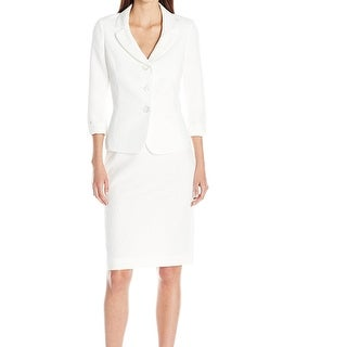 Le Suit NEW White Women's Size 8 Textured Knit 3-Button Skirt Suit Set