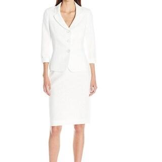 Le Suit NEW White Women's Size 8 Textured Knit 3-Button Skirt Suit
