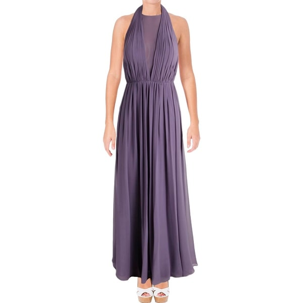 Shop Vera Wang Womens Evening Dress Chiffon Slit Free Shipping
