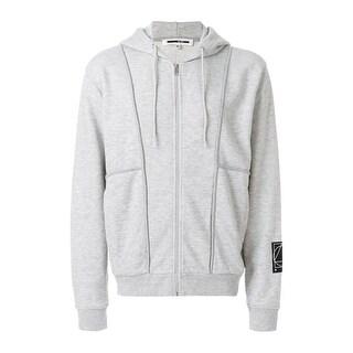 McQ Alexander McQueen Glyph Icon Patch Hoodie Sweatshirt Large L Smoke Melange