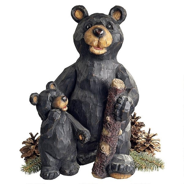 """15.5"""" Black Bear and Black Bear Cub Forest Outdoor Statue - N/A"""