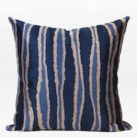 "G Home Collection Luxury Blue Wave Stripe Embroidered Pillow 20""X20"""