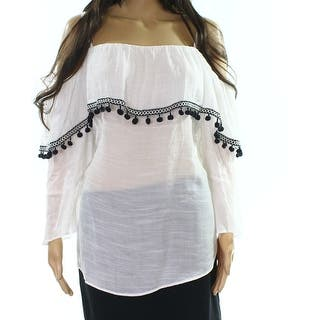 655a22a666d5f BCX White Black Women s Size 3X Plus Pom-Pom Off Shoulder Top. New Arrival.  Quick View