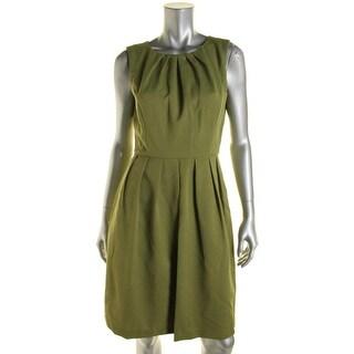 Ellen Tracy Womens Pleated Sleeveless Wear to Work Dress - 12
