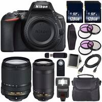 Nikon D5600 DSLR Camera with 18-140mm Lens (Black) International Model 1577 + Nikon AF-P DX 70-300mm f/4.5-6.3G ED Lens Bundle
