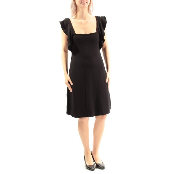 Shop French Connection Womens Black Ruffled Cap Sleeve Square Neck
