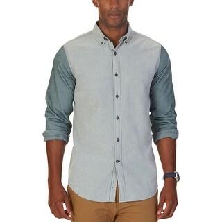 Nautica Mens Big & Tall Button-Down Shirt Chambray Colorblock Green XXL