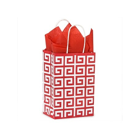 "Pack Of 250, Rose 5.5 x 3.25 x 8.5"" Red Geo Graphics Recycled Paper Shopping Bag W/White Paper Twist Handles"