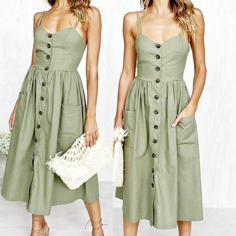 2018 Fashion Women Summer Speggeti Straps Button Down Party Dress With Pockets