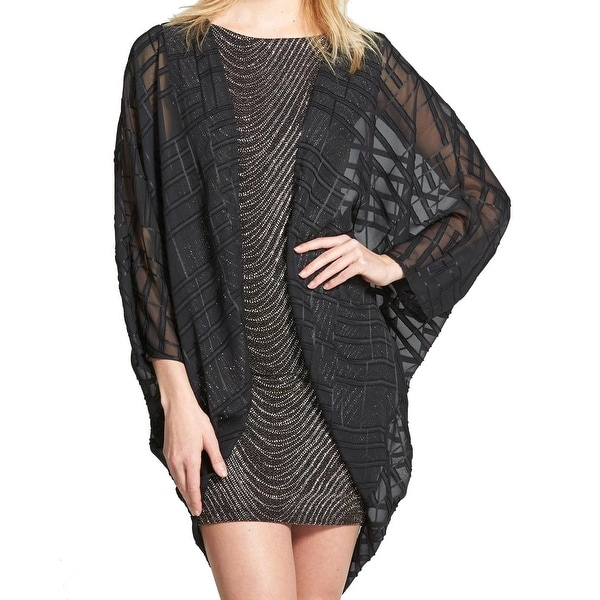 9a4bfed0892 Shop ASTR NEW Black Women s Size XS Sheer Chiffon Woven Open Front Cardigan  - Free Shipping On Orders Over  45 - Overstock - 19435683