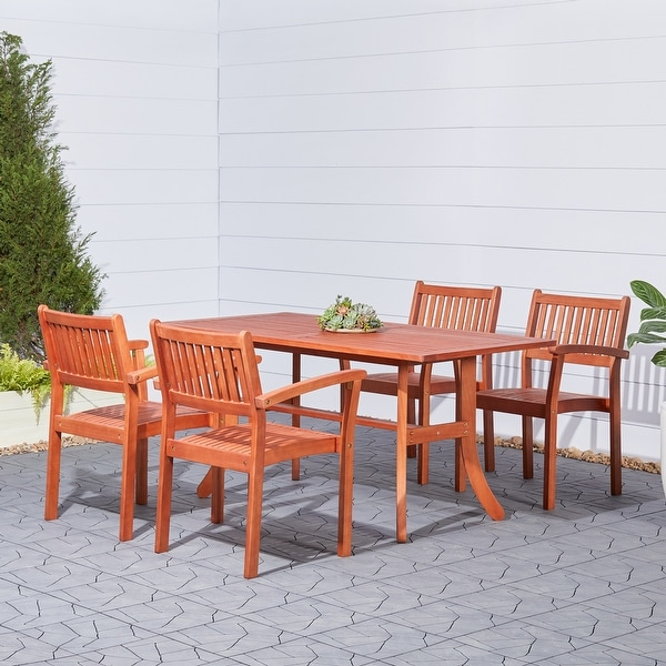Surfside 5-piece Eucalyptus Wood Outdoor Dining Set with Curved Table by Havenside Home. Opens flyout.