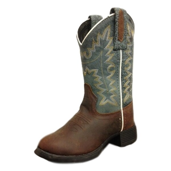 Old West Cowboys Boots Boys Girls Western Round Toe Brown Blue