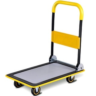 Costway 330lbs Folding Platform Cart Dolly Push Hand Truck Moving Warehouse Foldable - as pic