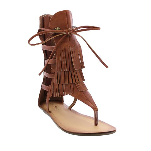 Liliana Avis-4 Women's Flat Lace Up 3 Layers Fringe Flip Flop Gladiator Sandal