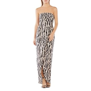 BCBG Max Azria Womens Jesse Evening Dress Chiffon Strapless