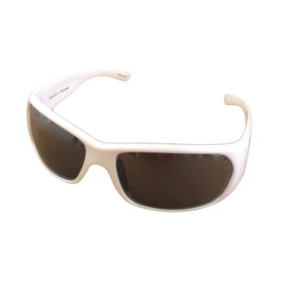Perry Ellis Mens Sunglass PE12 5 White Plastic Wrap, Light Smoke Flash Lens - Medium