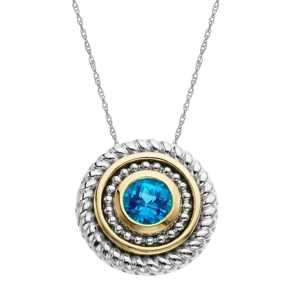 1 ct Natural Swiss Blue Topaz Pendant in Sterling Silver and 14K Gold