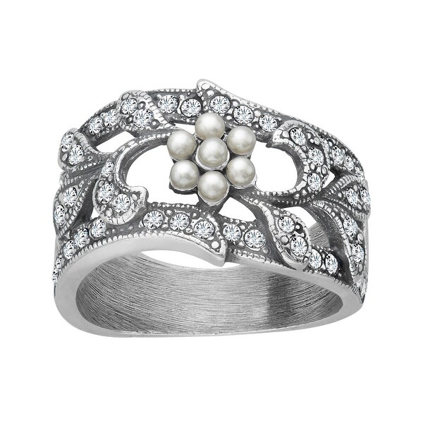Van Kempen Victorian Ring with Pearls and Swarovski Elements crystals in Sterling Silver - White