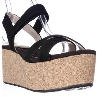 DNKY Franca Cork Platform Wedge Sandals - Black