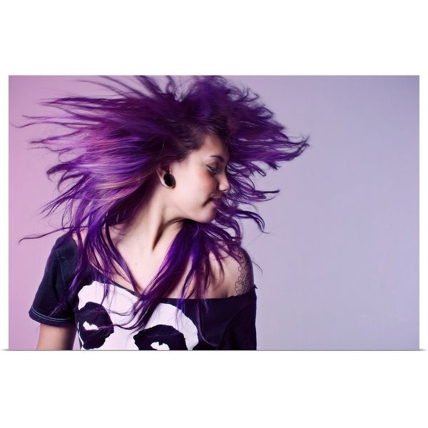 """Young woman tossing purple hair"" Poster Print"