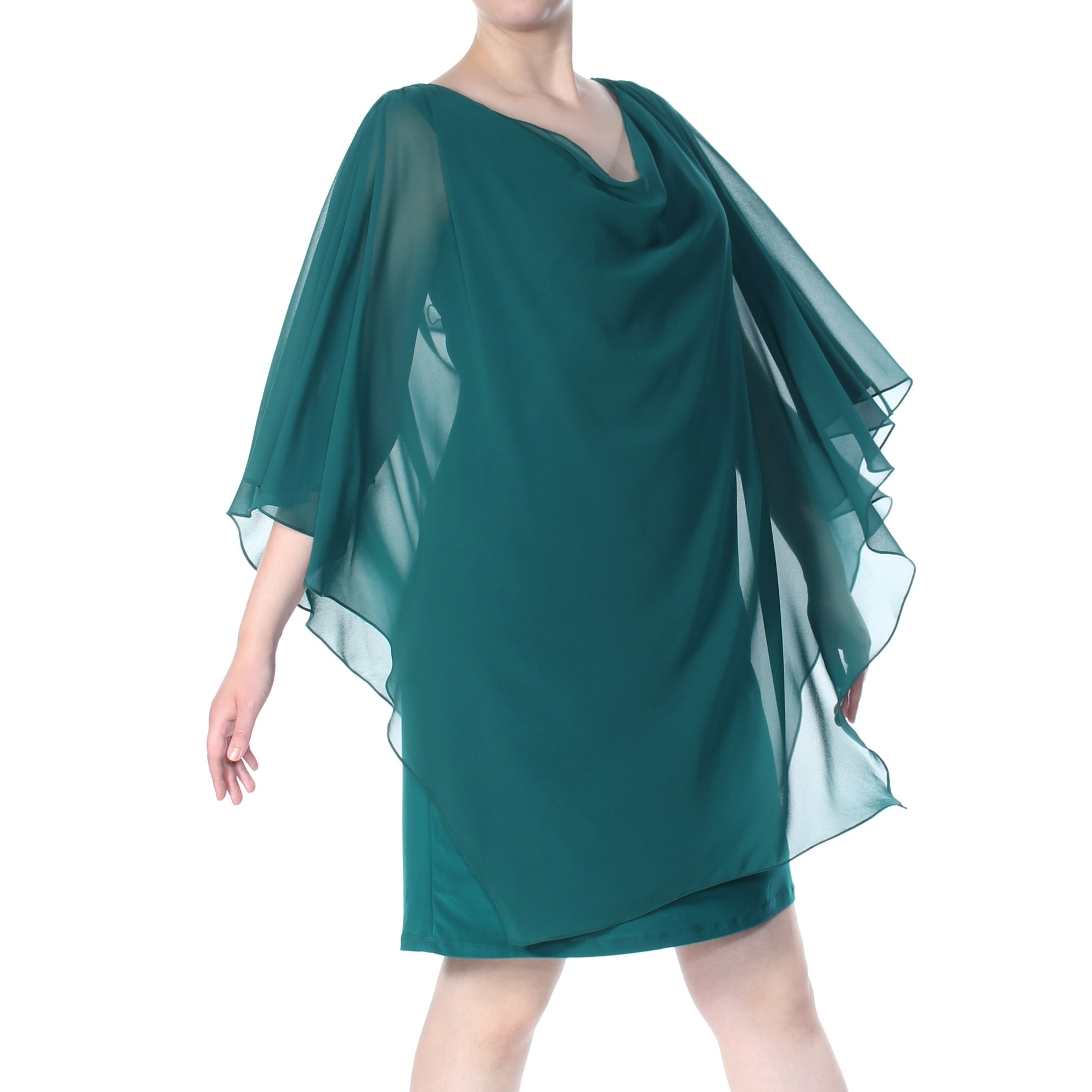 BETSY & ADAM Womens Green Embellished Overlay Kimono Sleeve Cowl Neck Above  The Knee Evening Dress Plus Size: 22W