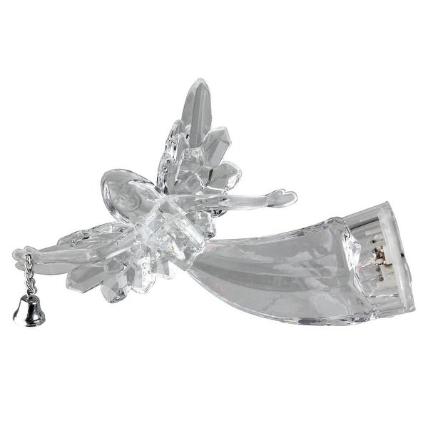 "5"" Icy Crystal Lighted Clear Flying Angel with Bell Christmas Ornament"