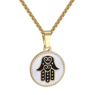 Hamsa Hand On Round Pendant Gold Tone Over Stainless Steel Free Necklace