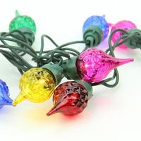 Set of 35 Multi-Color Facted Flame Tip Glass Bulb C5 Mini Christmas Lights - Green Wire - multi