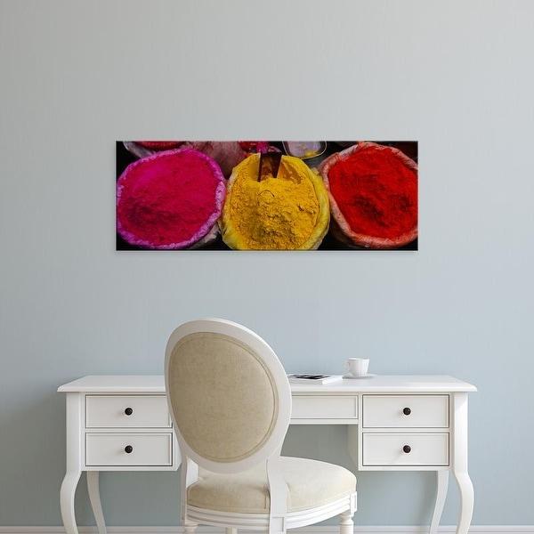 Easy Art Prints Panoramic Image 'View of various powder paints, Braj, Mathura, Uttar Pradesh, India' Canvas Art