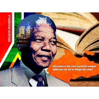Nelson Mandela Poster Education is Powerful Weapon Art Print (18x24)