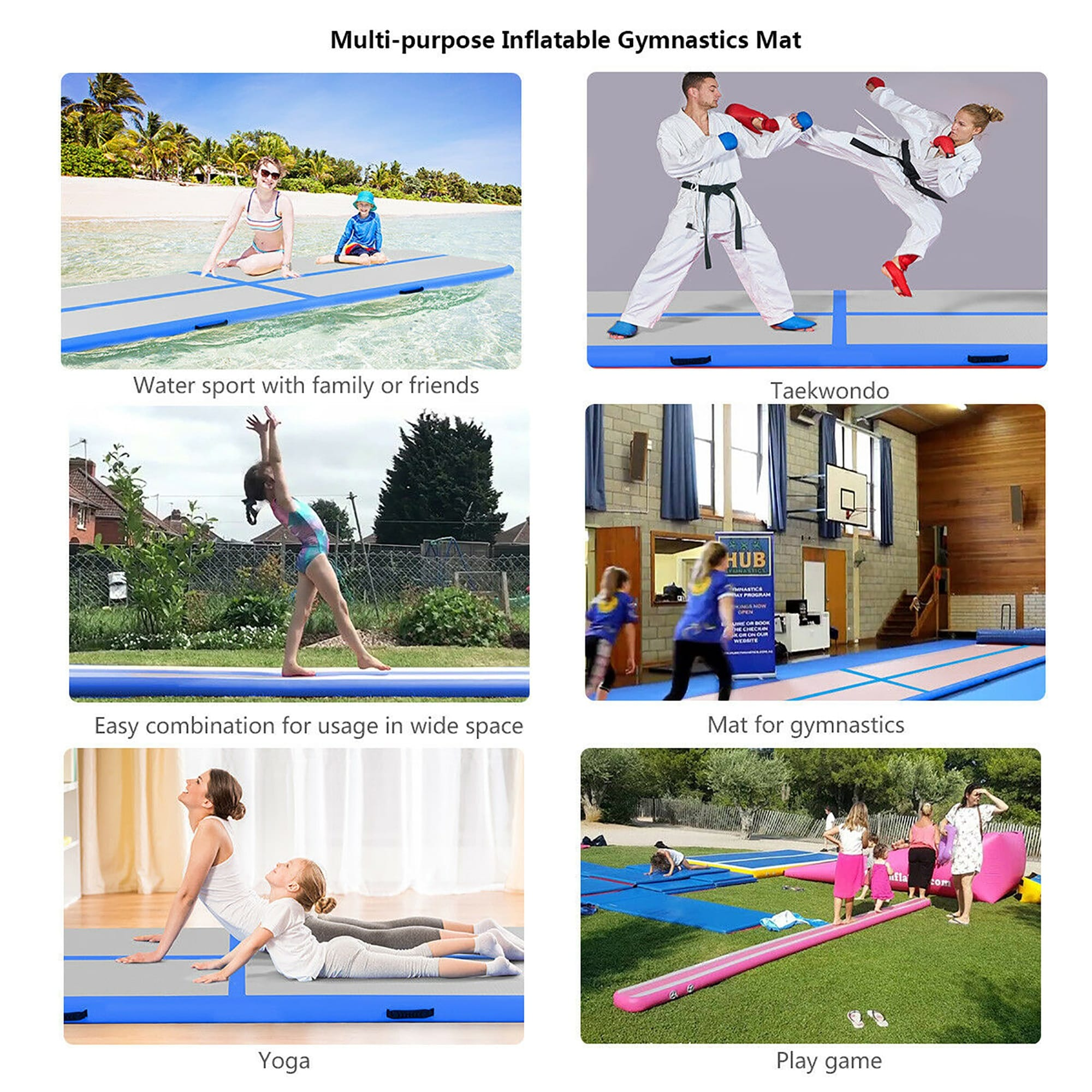 10FT Airtrack Inflatable Air Track Floor Home Gymnastics Tumbling Mat GYM w//Pump