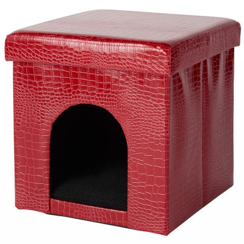 "Mina Victory Croco Pet House, (15"" x 15"" x 15"")"