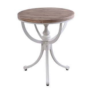"""StyleCraft SC-AF17590  Quail Farm 18"""" Diameter Metal and Wood Accent Table - White"""